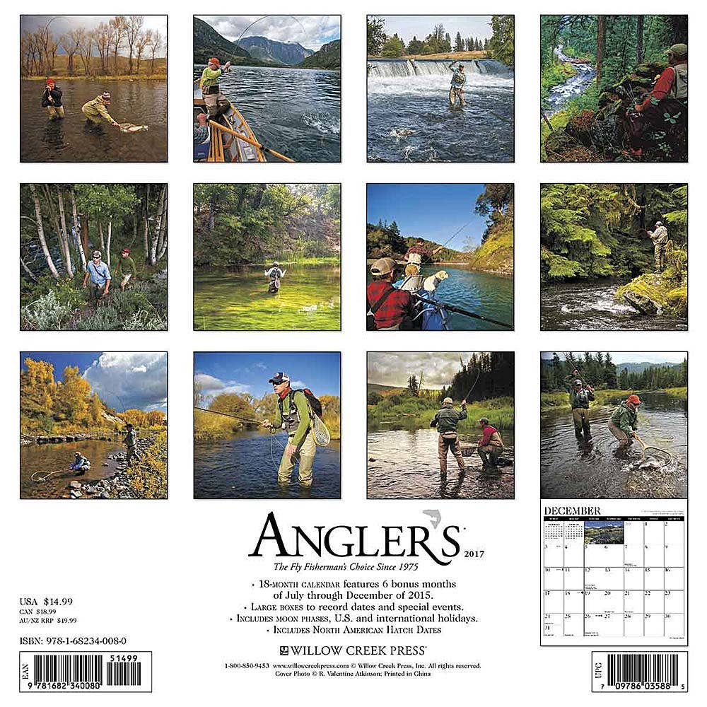 Angler 39 s fly fishing 2017 calendar fly fishing calendar for Fly fishing catalog