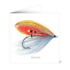 Mayfly Art Greetings Card - Black Dog