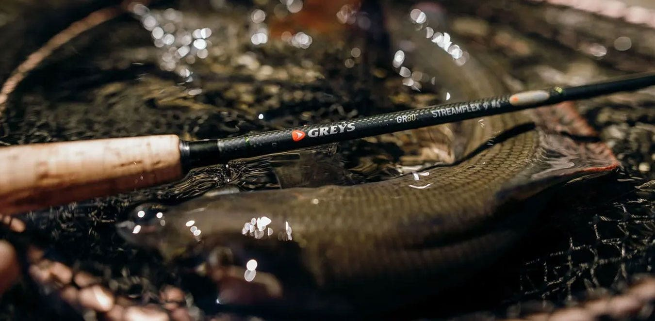Greys GR80 Streamflex Fly Rod In Grayling Fishing Action
